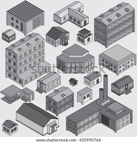 Set of Isolated 3D  Isometric Buildings. Illustration of Various Urban and Rural Houses.