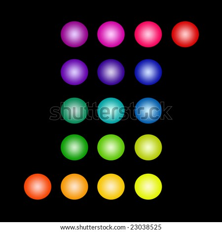 Set of Isolated Glowing Colored Circles