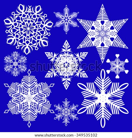 Set of isolated snowflakes of various sizes