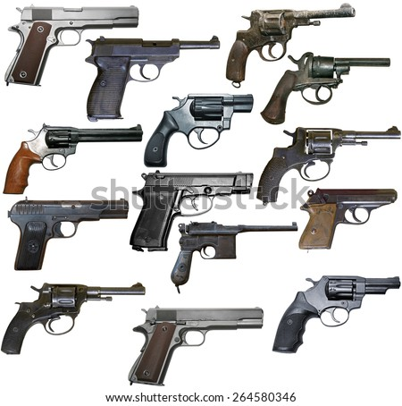 Set of isolated vintage personal firearms of XX century on white - stock photo