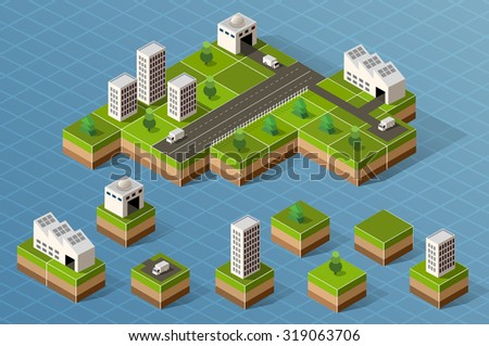 Set of isometric city center on the map with a large number of buildings. - stock photo