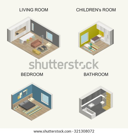 Set of isometric color rooms. Raster version. - stock photo