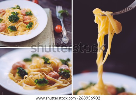 set of italian pasta tagliatelle with bolgnese sauce on the wooden table. closeup shots - stock photo
