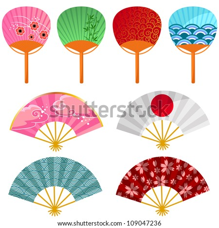 Set Japanese Fans Jpeg Version Available Stock Vector ...