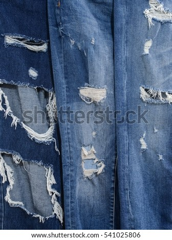 set of Jeg Jeans torn denim texture.