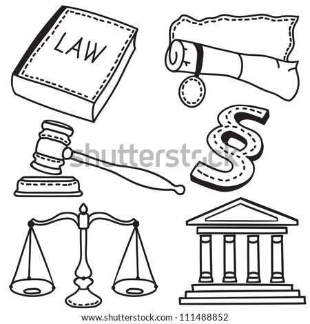 Set of judicial icons isolated on white background - hand-drawn illustration - stock photo