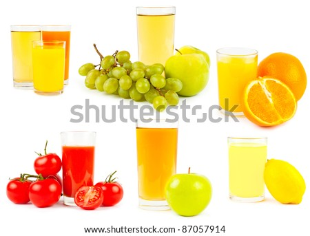Set of juices an fruits and vegetebles