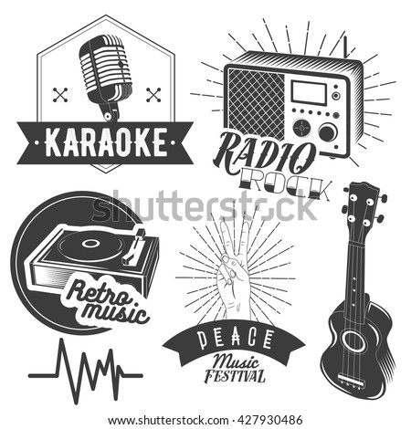 Set of karaoke and music labels in vintage style. Guitar, microphone, gramophone, radio receiver isolated on white background. Design elements, emblems, badges, logo and icons. - stock photo