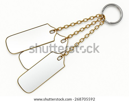 Set of key chains with space for text isolated on white background
