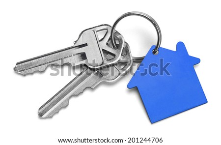 Set of Keys With Blue House Isolated on White Background. - stock photo