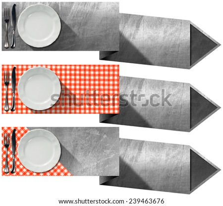 Set of Kitchen Banners with Arrows. Collection of three kitchen banners with white empty plate, silver cutlery, red and white checkered tablecloth and metallic arrows. Isolated on white background - stock photo