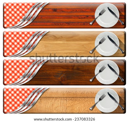 Set of Kitchen Banners with Plates. Collection of four kitchen banners with white empty plates, silver cutlery, checkered tablecloth, wooden background, metallic curves. Isolated on white background - stock photo