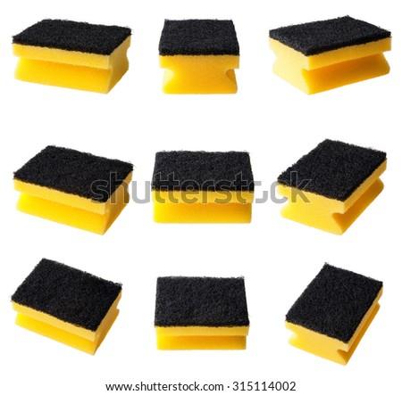 Set of kitchen cleaning sponge isolated - stock photo