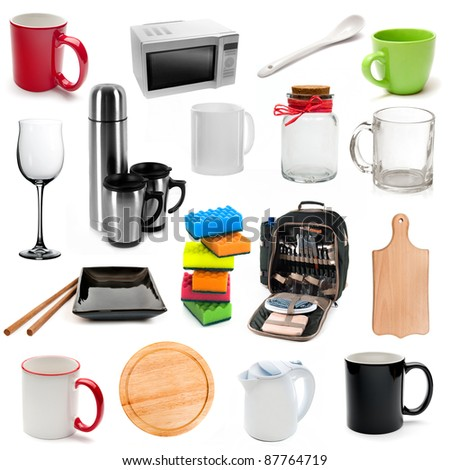 Set of kitchen tools isolated on a white background - stock photo