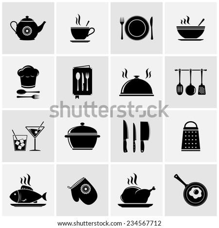 Set of kitchen tools silhouettes - stock photo