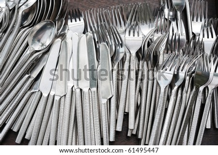 Set of knifes spoons and forks - stock photo