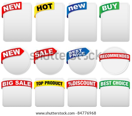 Set of Labels with Sign in Different Shapes and Colors With Various Signs - stock photo