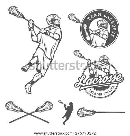 Set of lacrosse design elements - stock photo