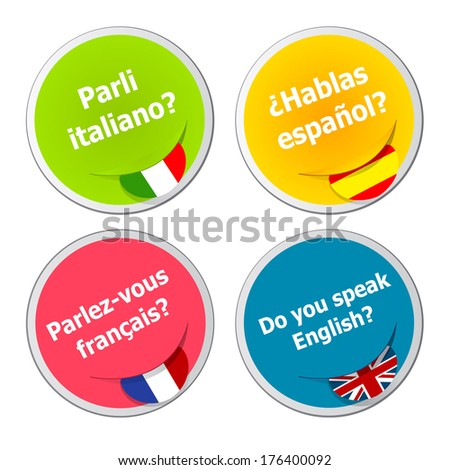 set of language stickers - stock photo