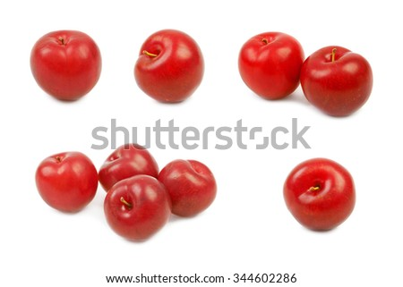 Set of Large fresh ripe plums nectarines, healthy ingredient isolated on white background. - stock photo