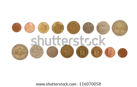 Set of Latvian coin currency money, including 1,2 5, 10, 20 and 50 santims coins, plus 1 and 2 Lats,  showing bouth sides of the coins, isolated on white