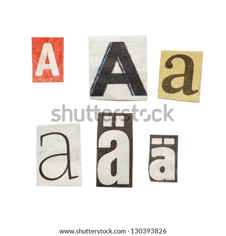Set Of Letters Cut Out From Different News Papers And