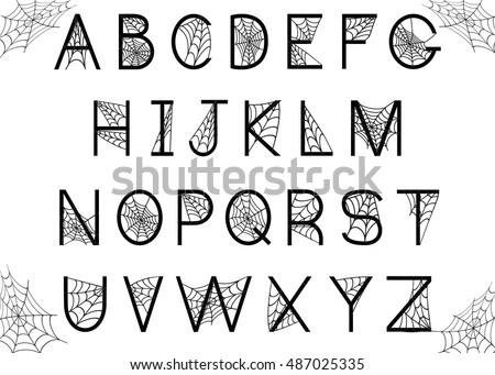 Set Letters Spider Web Halloween Alphabet Stock Illustration ...