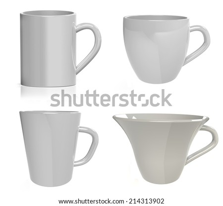set of light gray cups isolated on white background