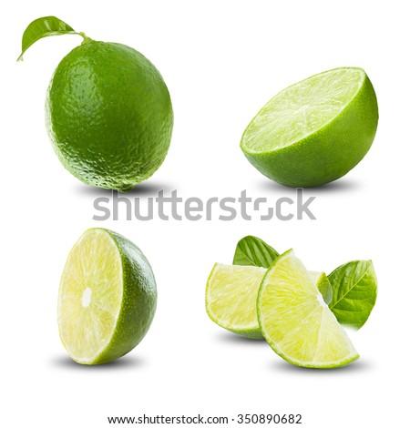 Set of Lime Fruit On White Background - stock photo