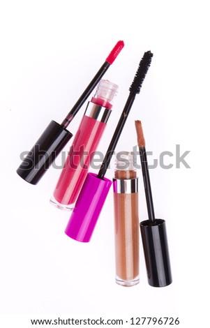 set of lip glosses isolated on white background - stock photo