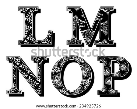 Set of LMNOP alphabet antiqua letters with elegant classic vintage patterns and drop shadow in black and white uppercase typescript, design element - stock photo