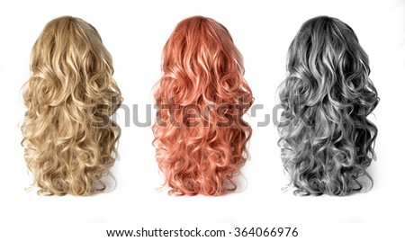 Set  of long Wigs hair isolated on white - stock photo