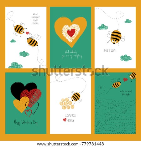 Set love greeting cards cute bees stock illustration 779781448 set of love greeting cards with cute bees and heart collection of posters or cards bookmarktalkfo Gallery