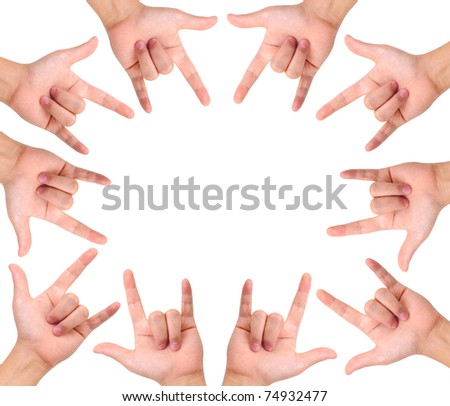 Set of love hand signs isolated on white create a frame and a copy space - stock photo