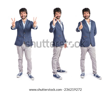 Set of Lucky man over isolated white background