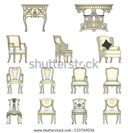 Set of Luxurious armchairs and tables,