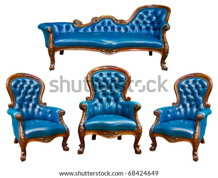 set of luxury blue leather armchair isolated