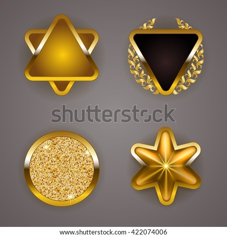 Set of luxury gold badges with laurel wreath, star. Customer s choice, limited edition, 100 percent authentic quality, best buy. Promotion emblems, icons, blazons for web, page design. Illustration  - stock photo