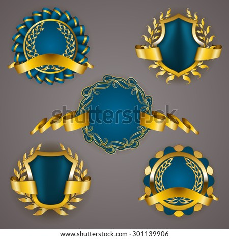 Set of luxury golden badges with laurel wreath, ribbon. 100 percent money back, 50 off, best choice, special offer. Promotion emblems, icons, labels, medal, blazons for web, page design. Illustration.