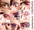 set of macro shots of eye make-up , saved clipping path - stock photo