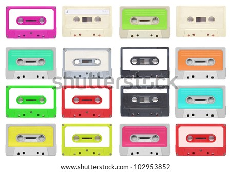 Set of magnetic tape cassette for audio music recording - isolated over white background - stock photo