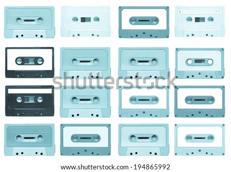 Set of magnetic tape cassette for audio music recording - isolated over white background - cool cyanotype - stock photo