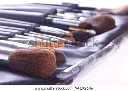 Set of make-up brushes in leather case