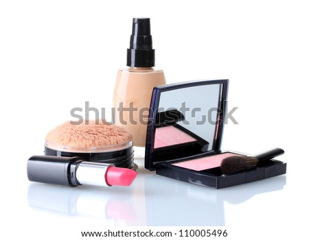 set of make-up products isolated on white - stock photo
