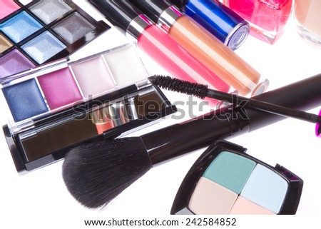 set of makeup products isolated on white background - stock photo