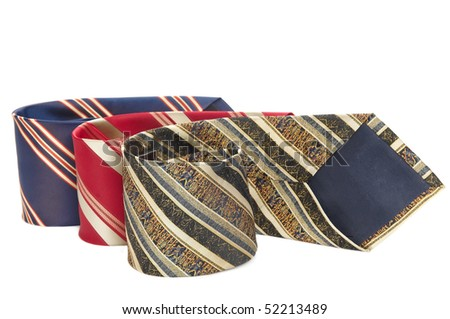 Set of man colorful stripped neckties isolated - stock photo