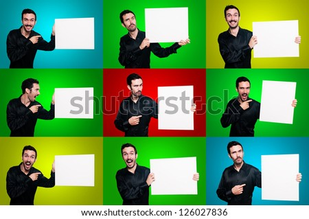 set of man holding boards with signs and symbols on colorful backgrounds