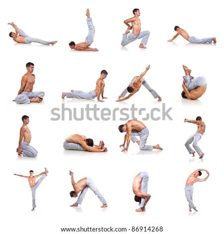 set of man making yoga isolated over white background - stock photo