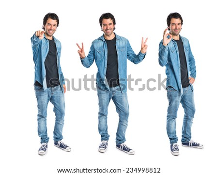Set of Man pointing to the front over white background