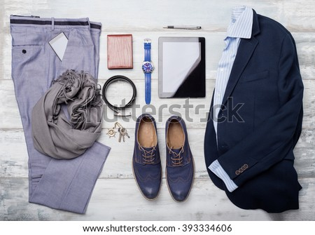 Set of mans fashion and accessories - stock photo
